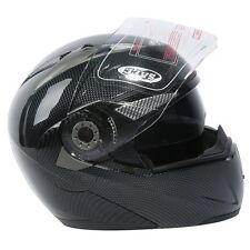 DOT Carbon Modular Dual-Visor Flip Up Sun Motorcycle Full Face Helmet S M L XL