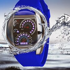 Mens Blue Flash LED Sports Car Meter Dial Watch RPM Turbo Wrist Watch 7 Colors
