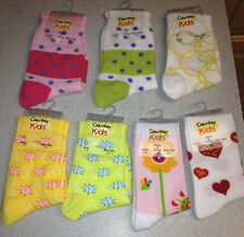 Country Kids cotton socks, Sock size 7-8 = AGE 3-7 heart flower dots pink green