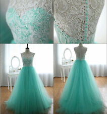 New Lace Tulle Long Formal Evening Gown Bridesmaid Prom Wedding Party Dress 6-16