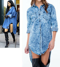 Inspired by Kylie Oversized Denim Acid Wash Button Down High Low Tunic Shirt