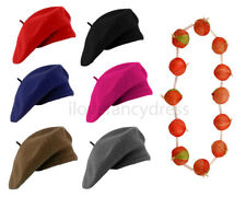 BERET HAT AND RED ONION GARLAND SET FRENCH FANCY DRESS COSTUME BASTILLE DAY