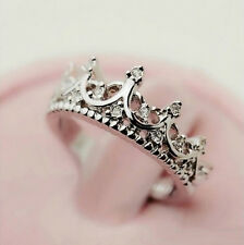 Fashion Princess 925 Sterling Silver Rhinestone Crown Ring US Size 5 6 7 8 New
