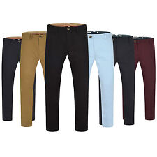 Mens Chino Trousers Regular/Slim Fit Jeans Pants Cotton elasticated New