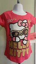 NWT Hello Kitty Little Girl's Pink Sparkly Leopard Sunglasses Tee - Sizes 4-6X