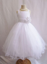 White teen toddler pageant recital bridal party dancing tulle flower girl dress