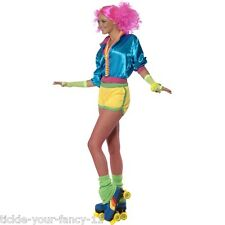 Womens 80's Skater Girl Costume Neon Boob Tube Dress Roller Disco Fancy Dress