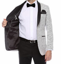 Shawl  Colar 2 tone Paisley Blazer for Men Tuxedo Jacket slim fit run sml Silver