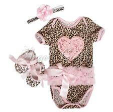 Newborn Baby Girls Leopard Romper Headband Shoes Outfit Sets Clothes 0-12Months