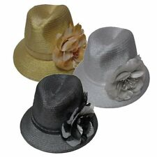 Dressy Womens Fedora Fancy Gold or Grey with Large Flower Church Hat NEW!