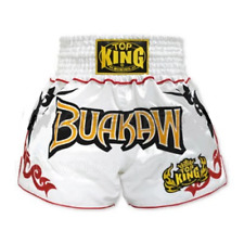 TOP KING BUAKAW Muay Thai Fighting Kickboxing Boxing Shorts White Adult Youth