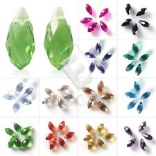 10pcs Loose Faceted 6x12/8x13mm DIY Top-drilled Glass Crystal Teardrop Beads Hot