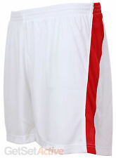 adidas Mens Performance White Red Blue Woven Polyester Mesh Lined Sports Shorts
