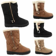 NEW WOMENS LADIES FUR LINED QUILTED RAIN FLAT SKI WINTER BOOTS WARM SHOES SIZE