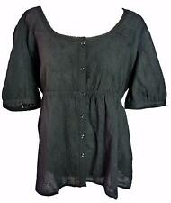 NEW BLACK COTTON EMBROIDERED BLOUSE-20 22 24 plus victorian steampunk gothic top