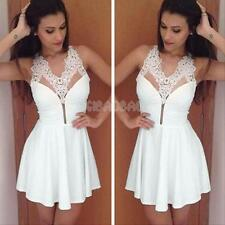 #g Women Sexy Lace Crochet Sleeveless Backless Evening Party Cocktail Mini Dress