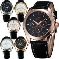 Week/Date/24H Black Leather Band Fashion Automatic Mechanical Watch Mens Relojes