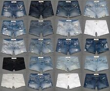 ABERCROMBIE & FITCH WOMENS JEAN SHORTS DENIM CUT OFF CLASSIC MIDI DESTROYED NWT