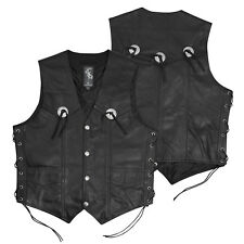 Vest leather Waistcoat Biker Motorcycle Motorbike Cow Hide Cruiser