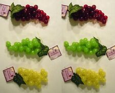 3 or 6 Bunches of Artificial Grapes, Fake Faux Fruit, Usa Seller-New