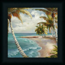 Palm Paradise Palm Tree Tropical Scene Framed Art Print Décor Picture 12x12