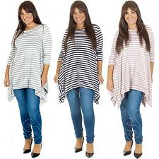 Womens Ladies Italian Lagenlook Crew Neck Striped Top Dress Plus Size 12 14 16 L