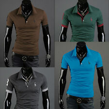 New Mens Stylish Casual Slim Fit Short Sleeve Polo Shirt T-shirts Tee Tops add