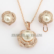 Fashion Pearl Earrings & Necklace Jewelry Set Pearl 18KGP Crystal Rhinestone