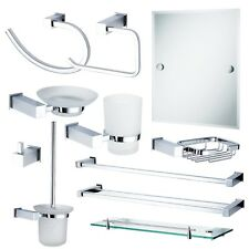 Chrome Glass Wall Mounted Bathroom Accessories Mirror Shelf Basket Brush Holder
