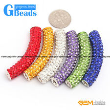 5Pcs Curved Czech Rhinestones Pave Crystal Tube Bracelet Connector Charm Beads