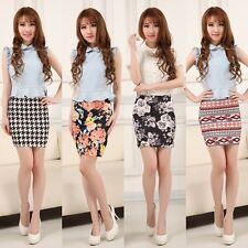 Retro High Waist Mini Skirt Cotton Stretch Plain Solid Floral Pencil Short Sexy