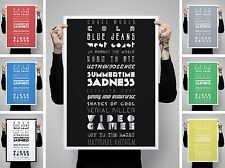 LANA DEL REY SETLIST SONGS TYPOGRAPHY PRINT POSTER PHOTO GIG TICKETS GIFT