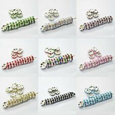 Lots 50Pcs Rhinestone Silver Plated Spacer Loose Rondelle Beads Jewelry DIY 8mm