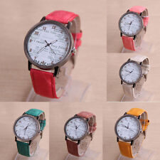 Retro Newspaper Design Pattern Women Leather Analog Watch Quartz WristWatch Gift