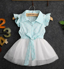 Newborn Baby Toddler Girls Summer Princess Bowknot Cotton Lace Tulle Dress 0-4T