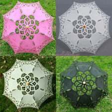 "21"" Kids Handmade Battenburg Lace Cotton Parasol Umbrella Bridal Wedding Decor"