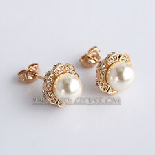 Fashion Rhinestone Pearl Flower Stud Earrings Crystal 18KGP