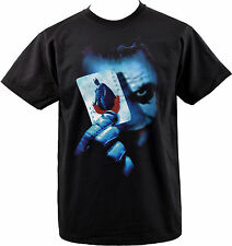MENS BLACK T SHIRT BATMAN JOKER PLAYING CARDS DARK KNIGHT HEATH LEDGER S-5XL
