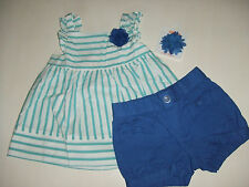 NWT Gymboree SEASIDE STROLL Sz  5T 3 Pcs Striped Swing Top Hair Clip & Shorts