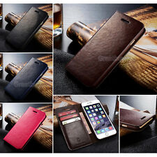 Genuine Real Leather Wallet Card Holder Flip Case Cover for iPhone 5 6 6S 7 Plus