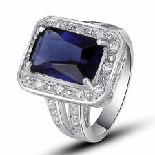 Noble Sapphire Quartz White Topaz Gemstone Silver Jewelry Ring Size 7 8 9 10