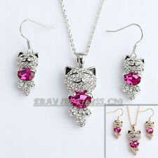 A1-S106 Fashion Rhinestone Lucky Cat Necklace Earrings Jewelry Set 18KGP Crystal