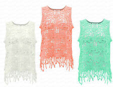 Ladies Girls NEW Summer Crochet Lace Floral Tassel Sleeveless Vest Top Netted