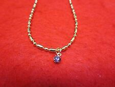 "14 KT GOLD PLATED 9 1/2"" FANCY MILITARY ANKLET W/ AUSTRIAN CRYSTAL BIRTHSTONE"