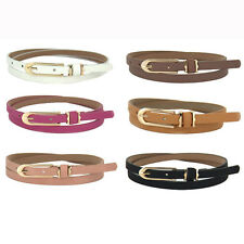 2015 New Lovely Women Girl Buckle Candy Color Thin Skinny PU Leather Belt