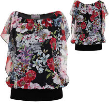 Ladies Batwing Sleeve Floral Chiffon Overlay Gathered Elastic Waist Blouse Top