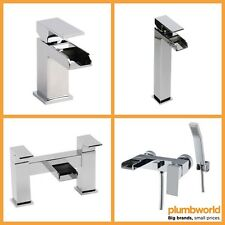 Chrome Square Waterfall Bathroom Sink Basin Mixer Bath Filler Shower Tap