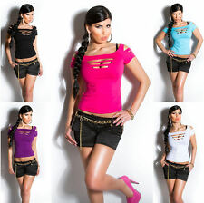 TOP TOP T-SHIRT SEXY WOMAN SLEEVES AND COL SLASHED CLUBWEAR DANCE T.34/36/38
