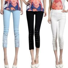 Fashion Womens Cotton Hollow Lace Leggings Solid Stretch Skinny Cropped Pants