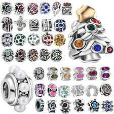 Crystal Space Beads Fit European Charms 925 Sterling Silver Bracelets Chains